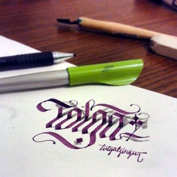 tolga 3d calligraphy drawings by tolga