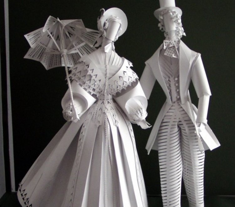 woman man paper sculptures by asya kozina