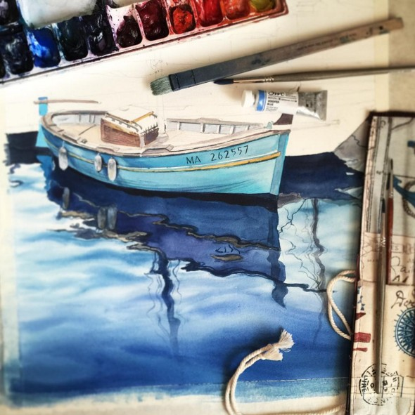 boat watercolor paintings by julia barminova