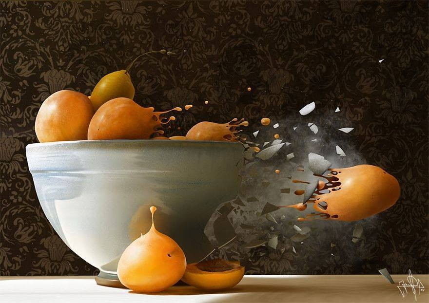 bowl realistic finger paintings by jaime sanjuan