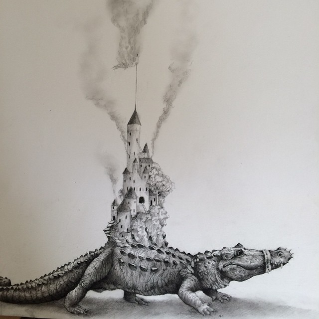 crocodile animal pencil drawing by adonna khare