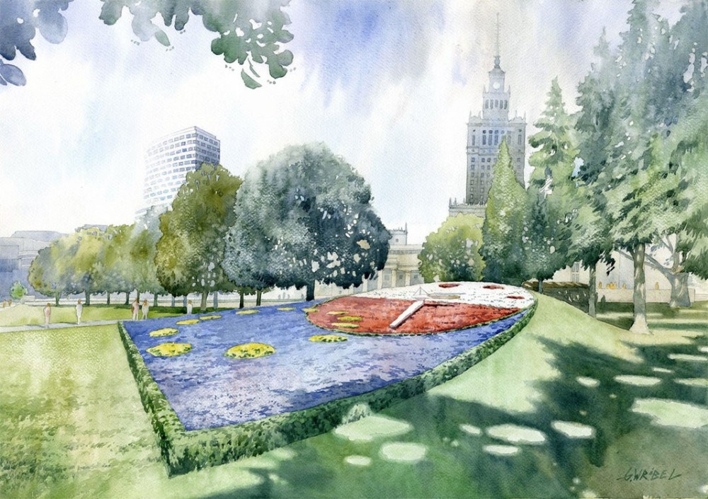 flower clock watercolor paintings by wrobel