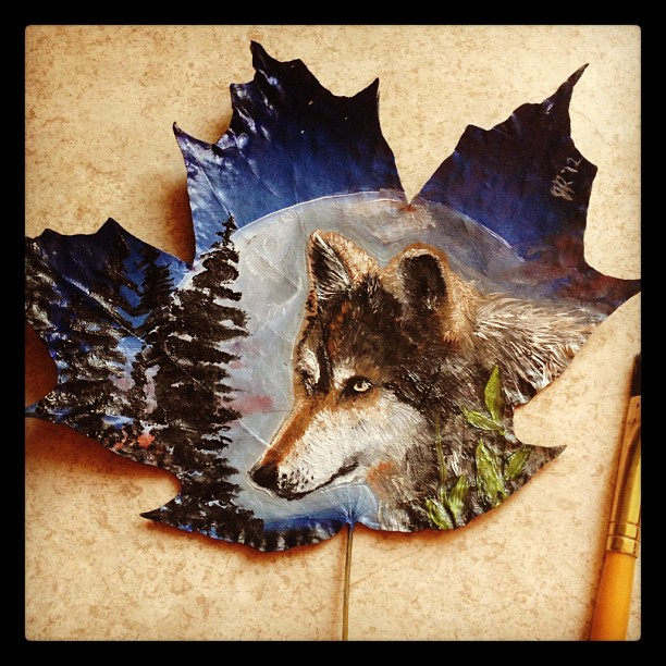 fox creative painting leaf by janette rose