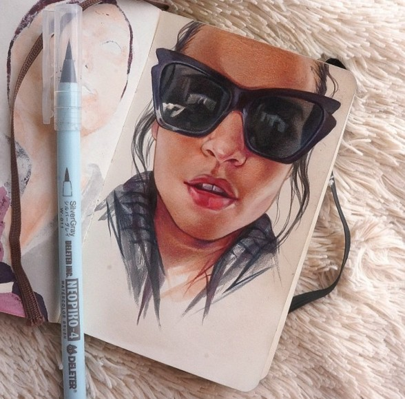 lady color pencil drawing by maria