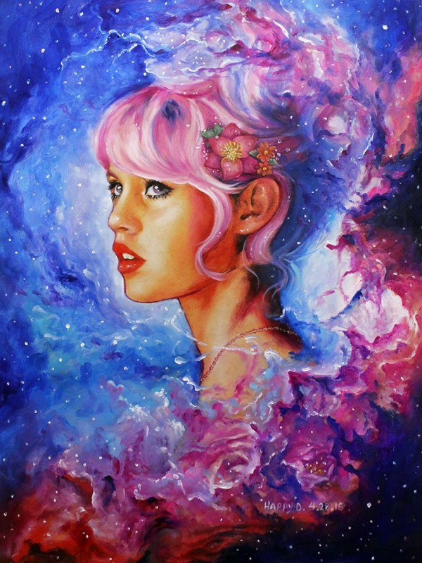 lady colorful paintings by happy d