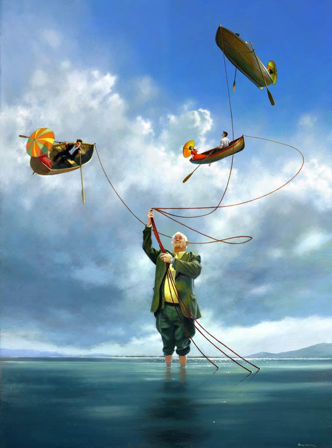 man boat paintings by jimmy lawlor