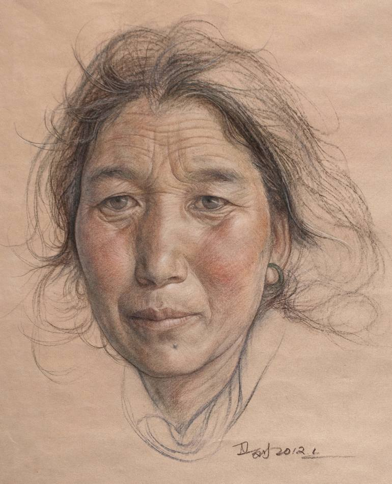 old woman color pencil drawing by william wu