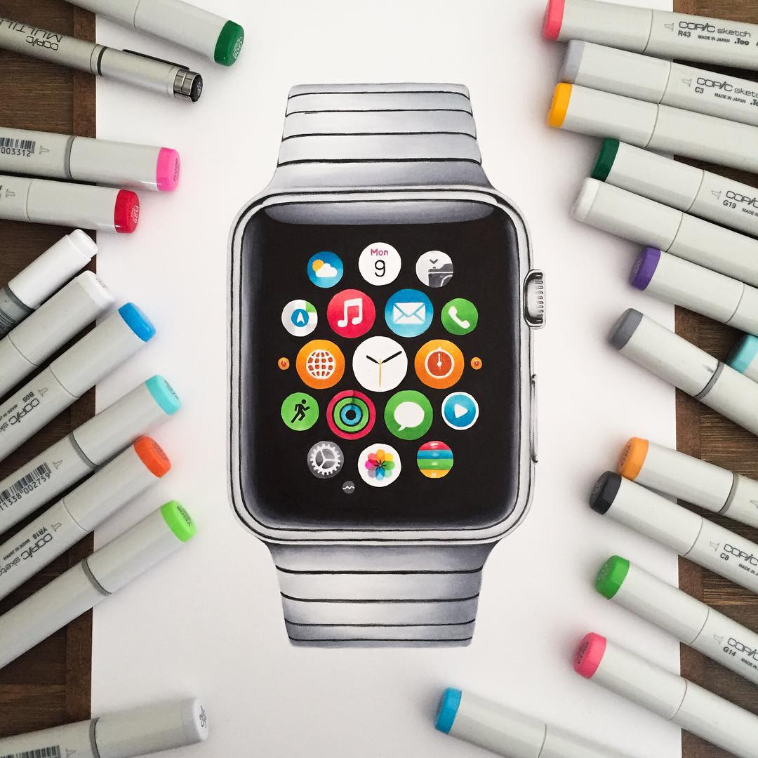 apple watch color marker drawings by stephen ward