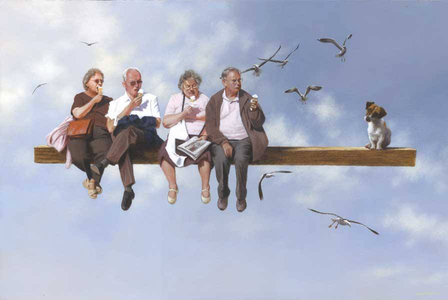 board meeting surreal paintings by jimmy lawlor