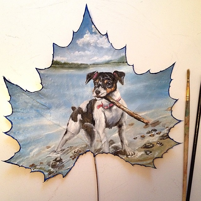 dog creative painting leaf by janette rose