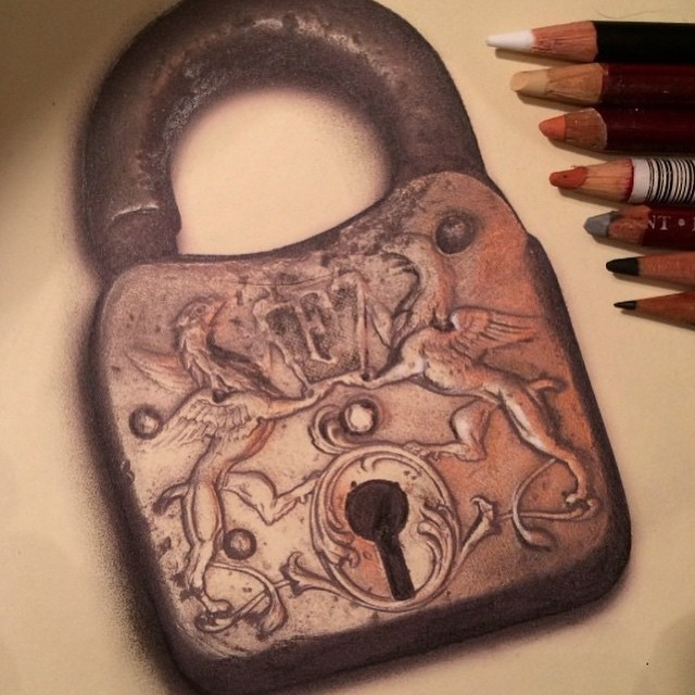 lock pencil drawing by stacy jean