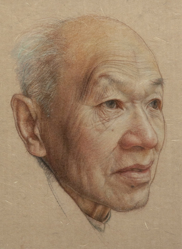 old man color pencil drawing by william wu