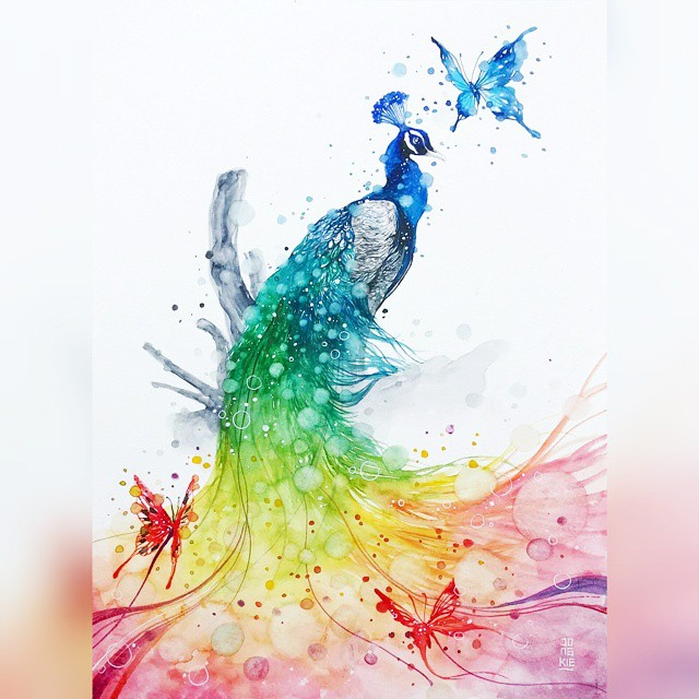 17 peacock animal watercolor paintings by luqman reza