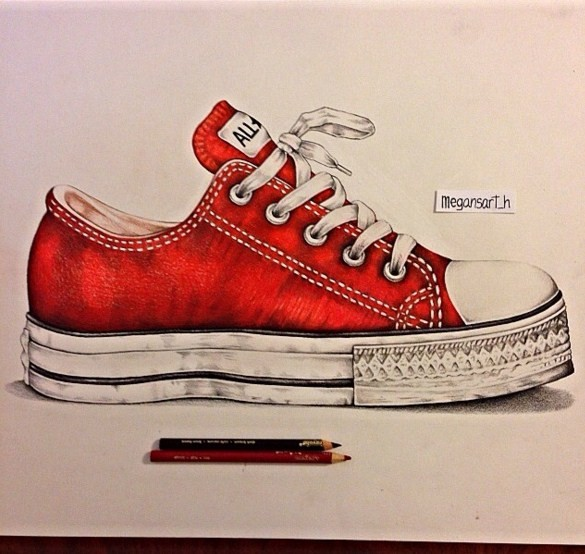 shoes color pencil drawing by megan renee