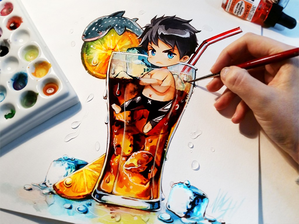 sousuke cola manga drawings watercolor paintings by naschi