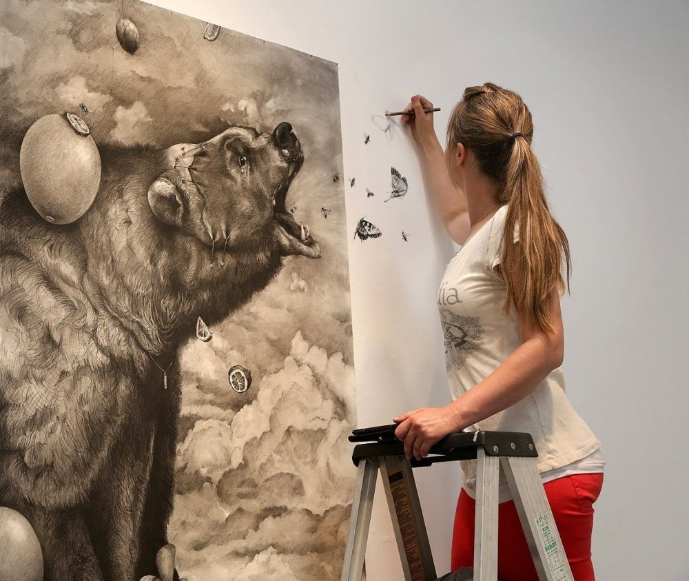 bear animal pencil drawing by adonna khare