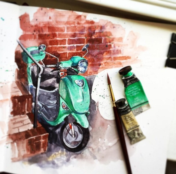 bike watercolor paintings by julia barminova