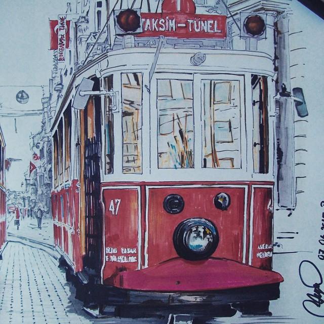 bus realistic paintings by ayse bakir