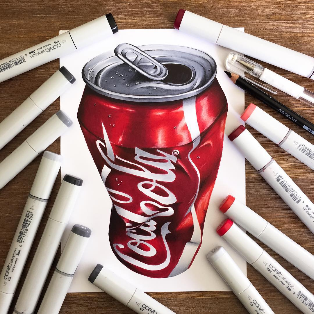 coca cola color marker drawings by stephen ward