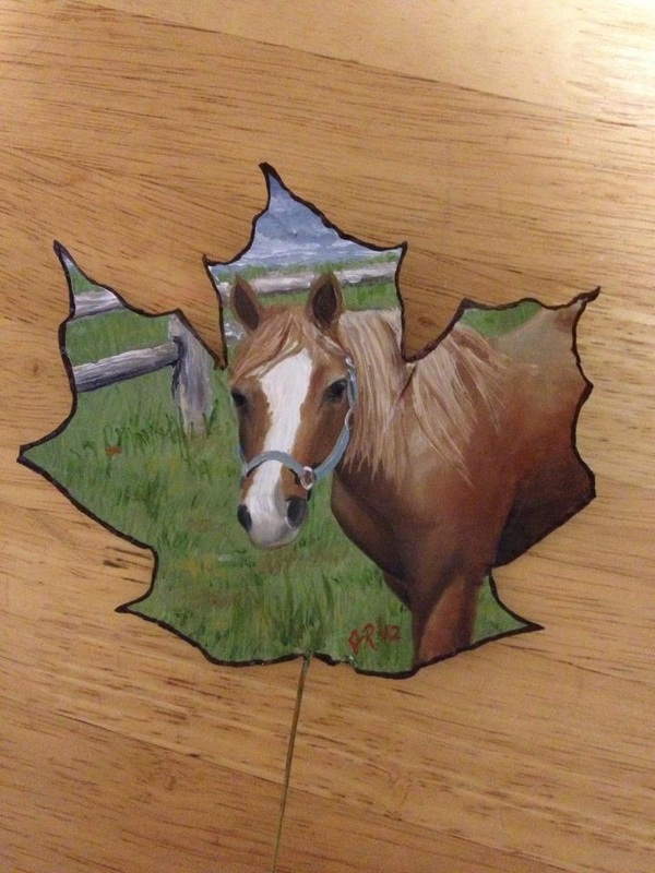horse creative painting leaf by janette rose