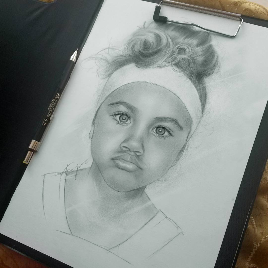 kid portrait pencil drawings by vita biryulina