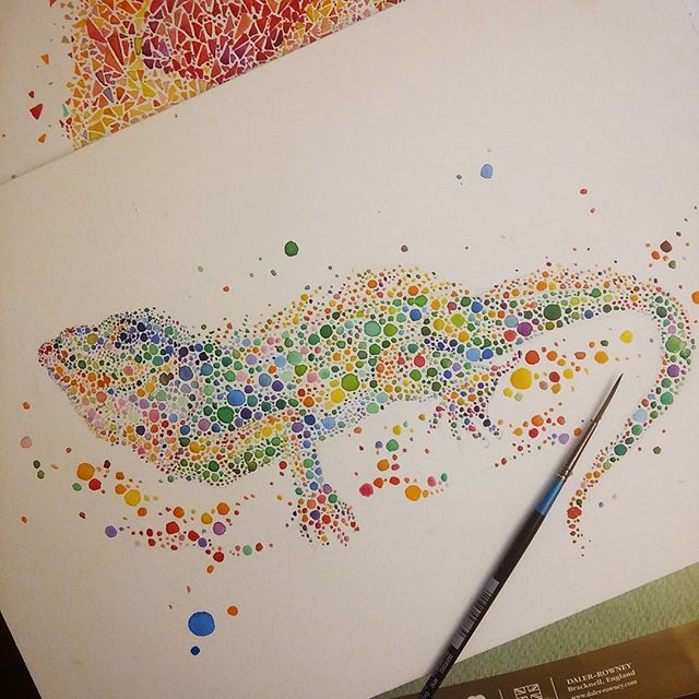lizard watercolor painting by anaensh
