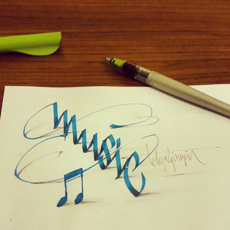 music 3d calligraphy drawings by tolga