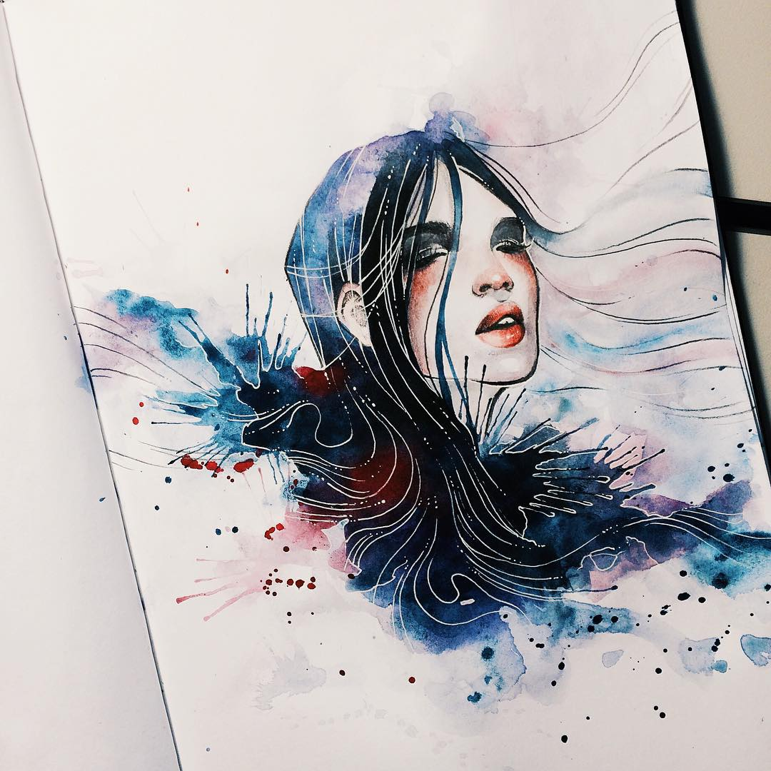 woman watercolor paintings by kelogsloops