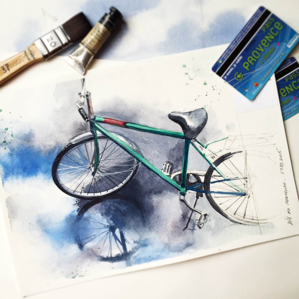 bicycle watercolor paintings by julia barminova