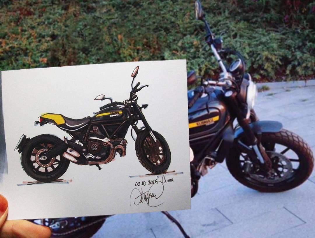 bike realistic paintings by ayse bakir