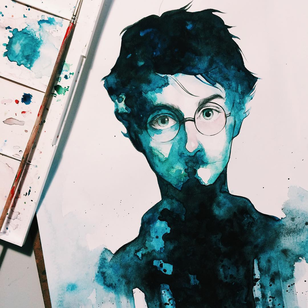 harry potter watercolor paintings by kelogsloops