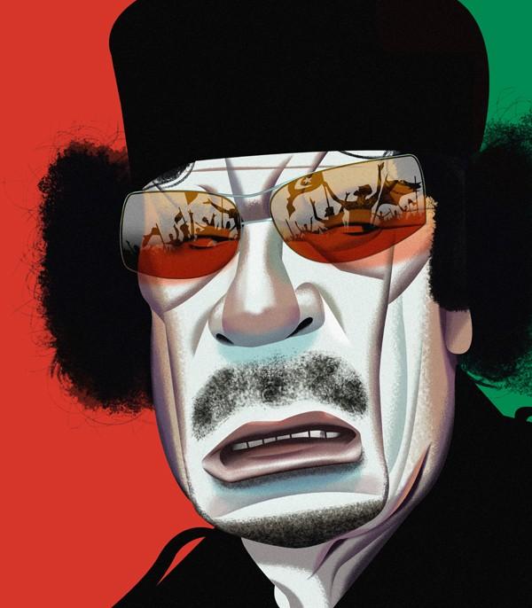 muammar gaddafi funny digital illustration by nigel buchanan