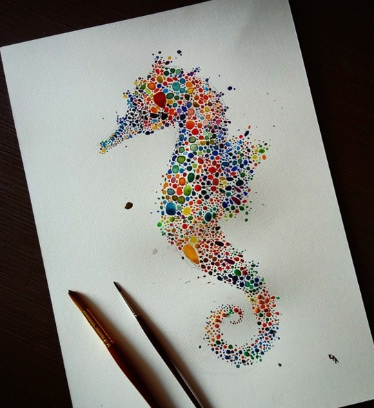 seahorse watercolor painting by anaensh