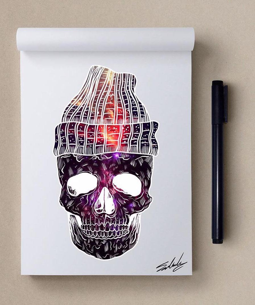skull creative paintings by muhammed salah
