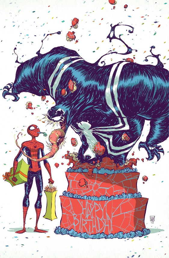 spider man venom birthday comic art by skottie young