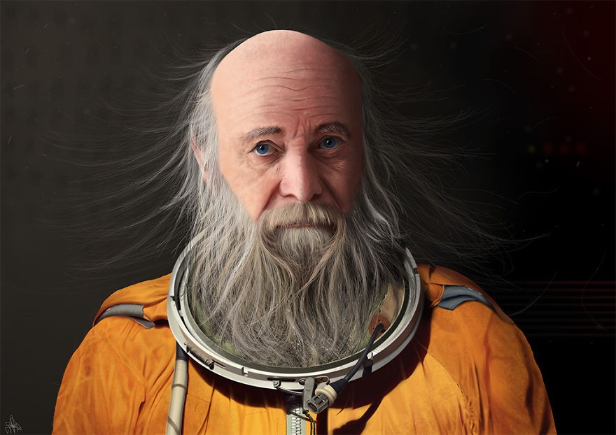 astronaut realistic finger paintings by jaime sanjuan