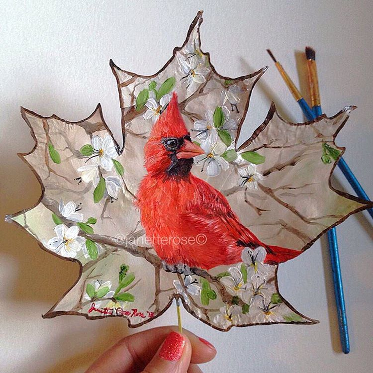 cardinal bird creative painting leaf by janette rose
