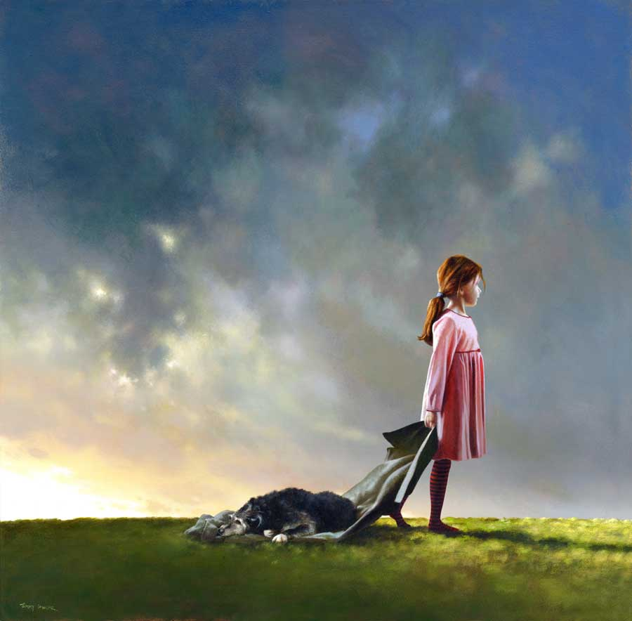 child dog surreal paintings by jimmy lawlor