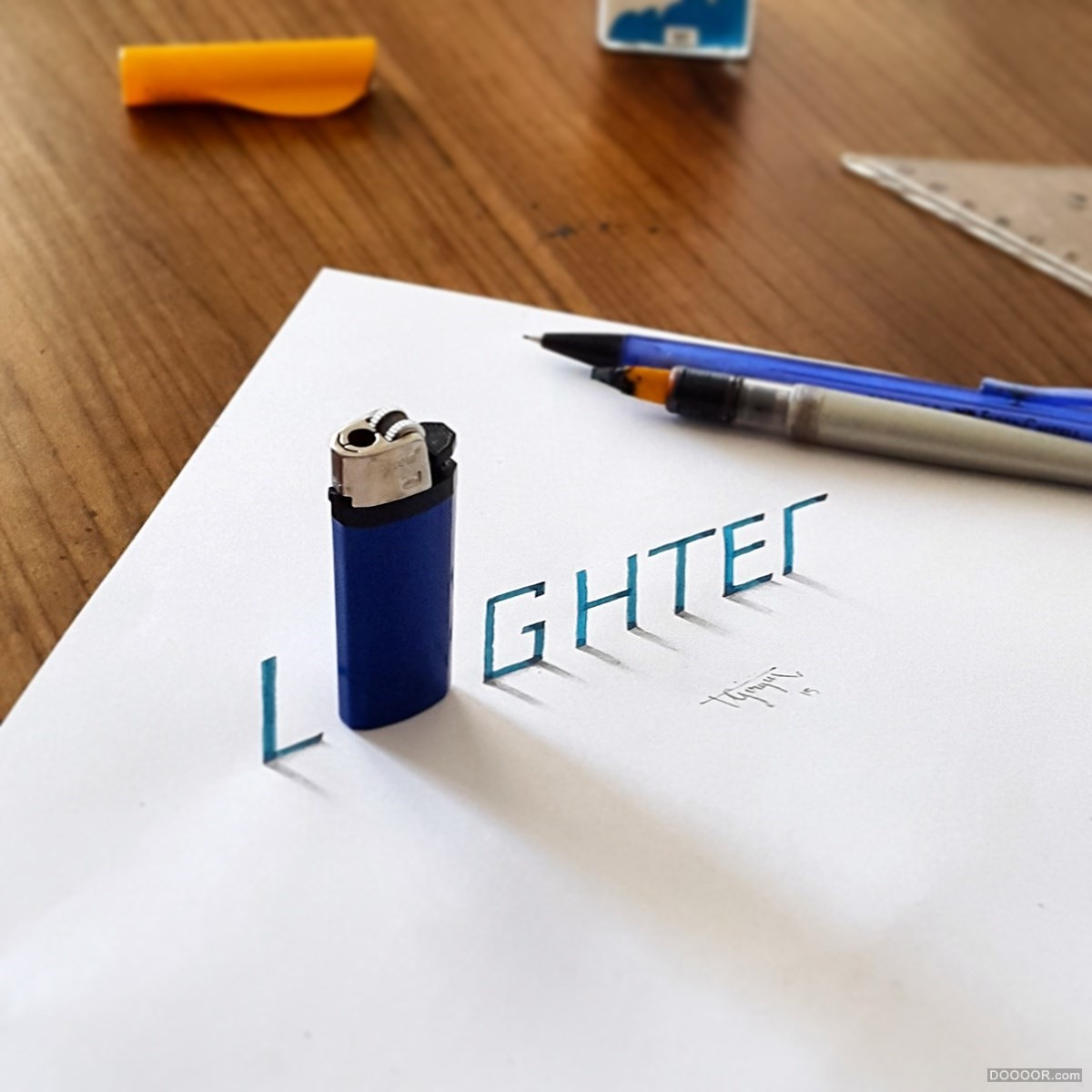 lighter 3d calligraphy drawings by tolga