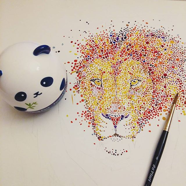 lion watercolor painting by anaensh