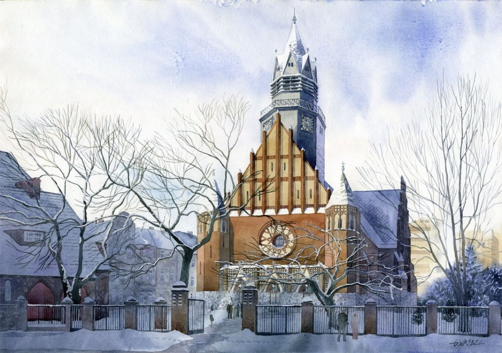 2 winter church watercolor paintings by wrobel