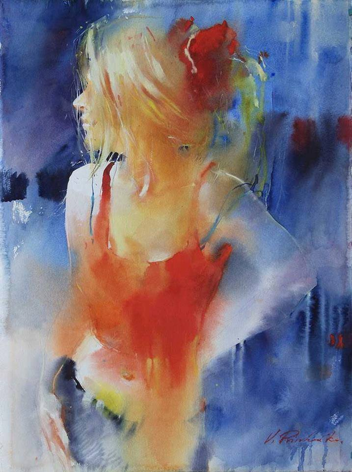 woman watercolor paintings by victoria prischedko
