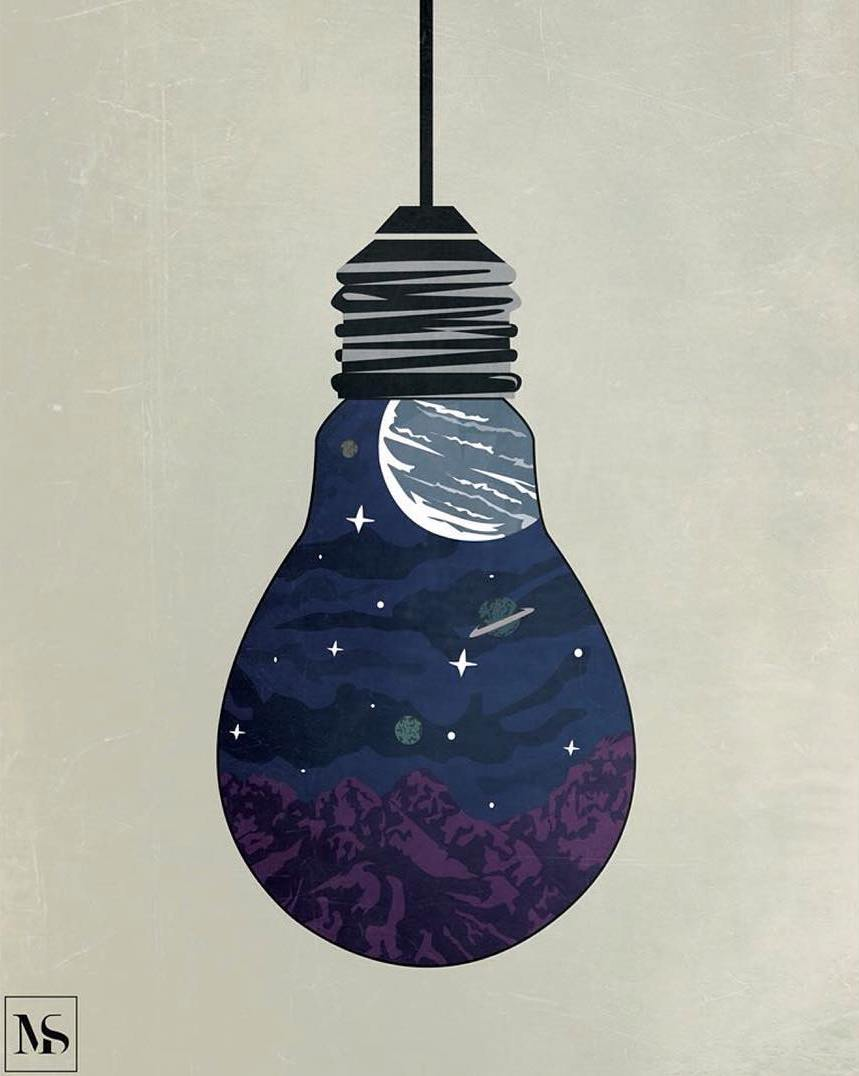 bulb creative paintings by muhammed salah