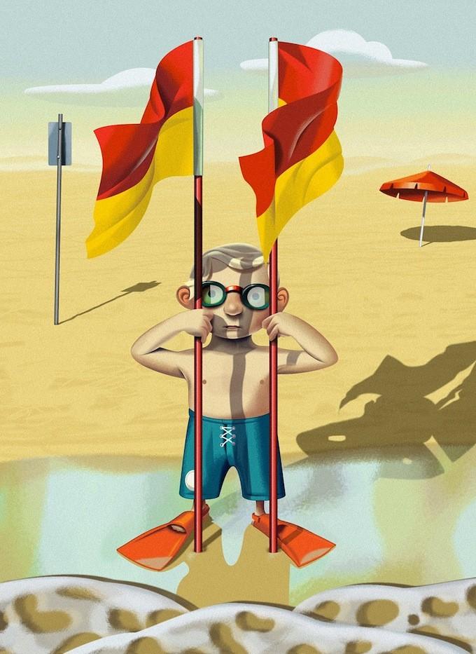 child flag funny digital illustration by nigel buchanan