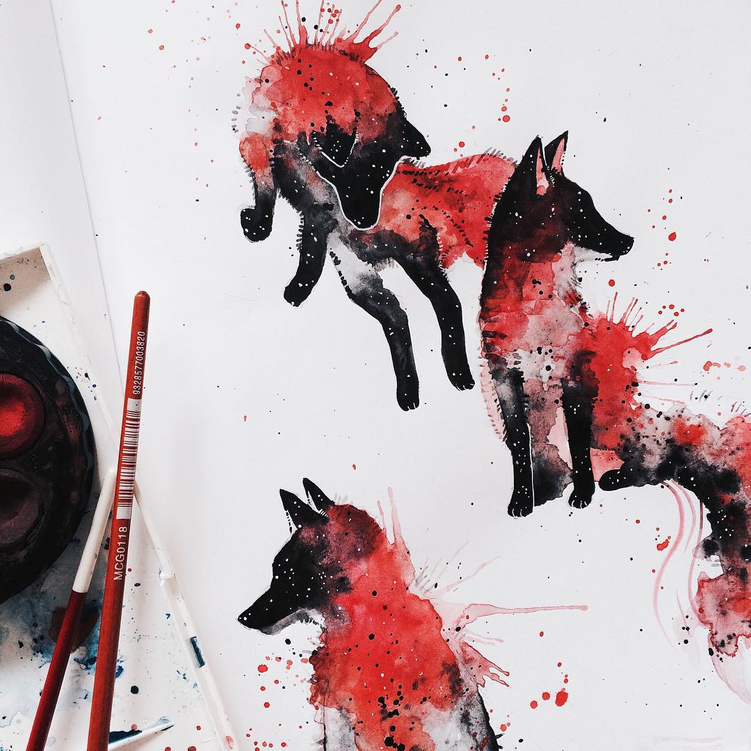 fox watercolor paintings by kelogsloops