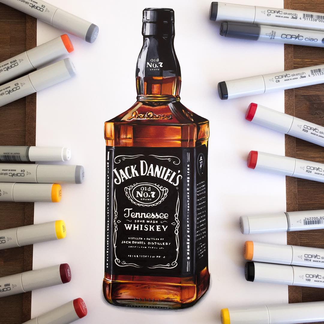 jack daniels color marker drawings by stephen ward