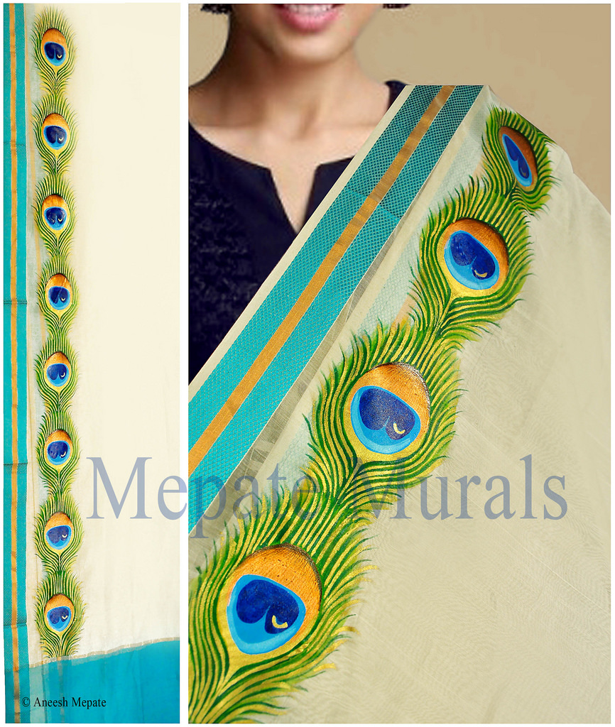 peacock saree mural painting