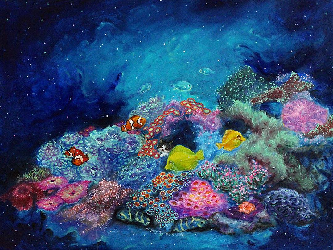 sea colorful paintings by happy d