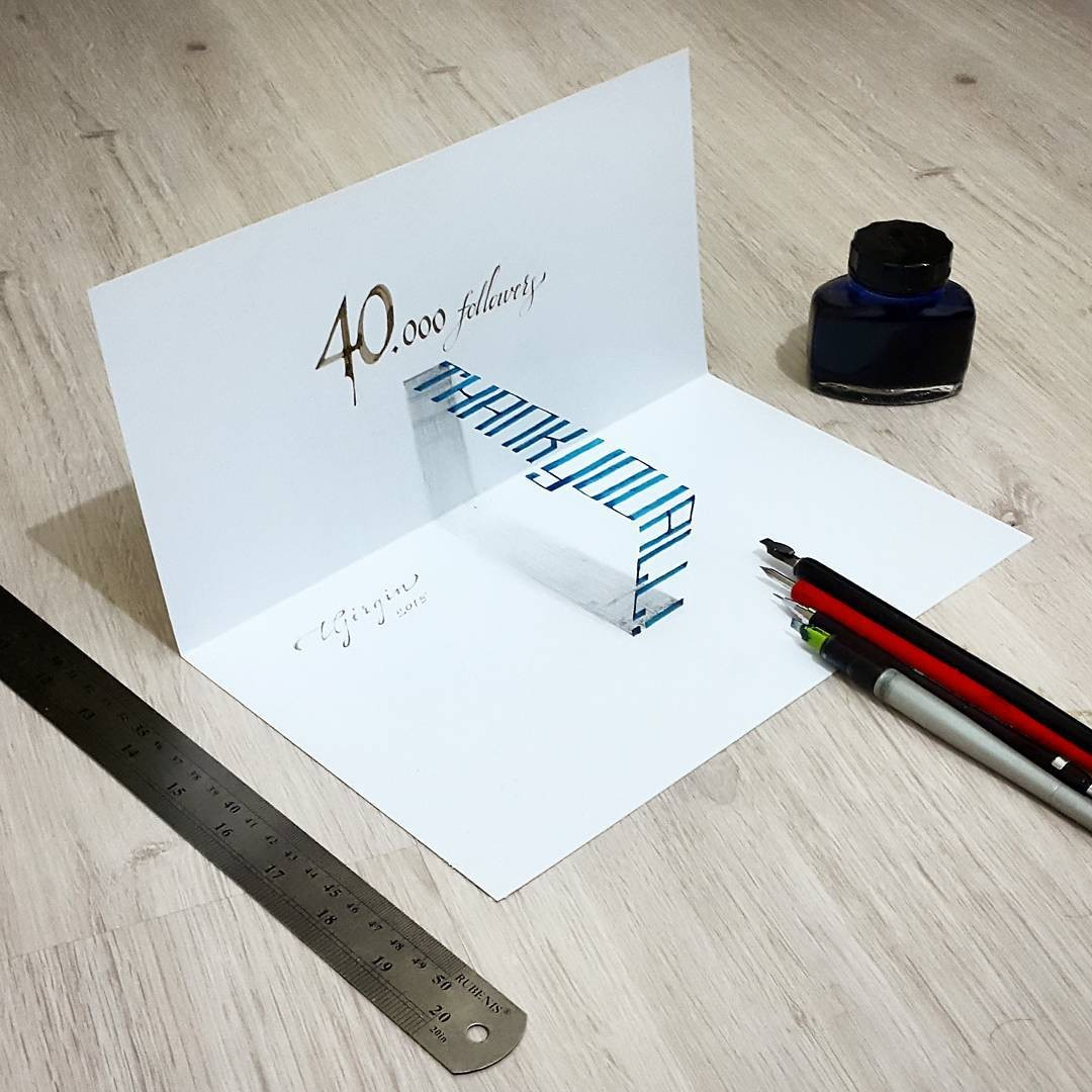 20 thank you all 3d calligraphy drawings by tolga