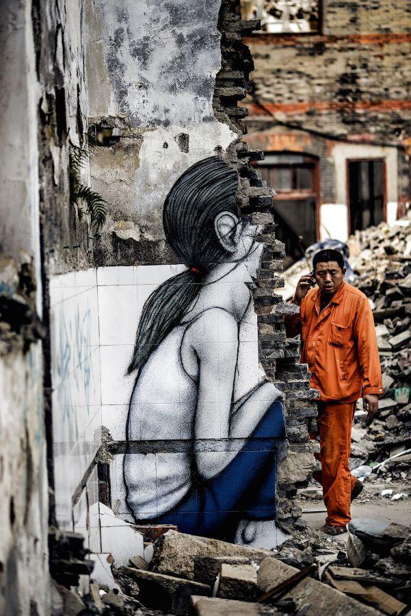 child street art by graham fink